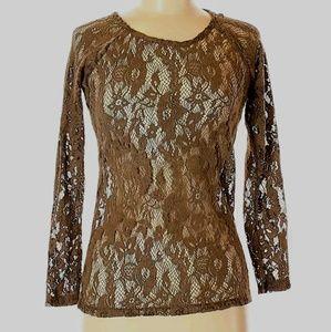 Zara Trafaluc Brown Lace Long Sleeve Top